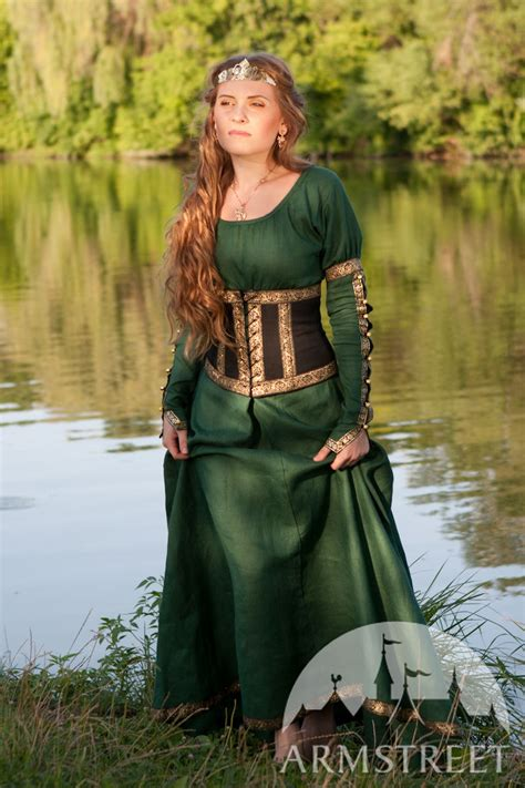 Medieval fantasy natural flax-linen dress with wide bodice