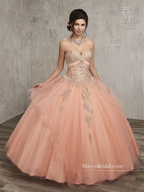 Marys Quinceanera Dresses | Style - 4Q500 in Peach Color