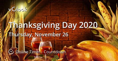 When is Thanksgiving Day 2020 - Countdown Timer Online