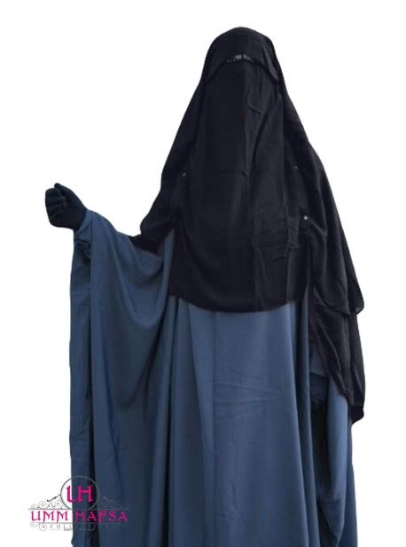 Niqab Cape Flap with Snap Buttons 1m50 - Grey, extra long