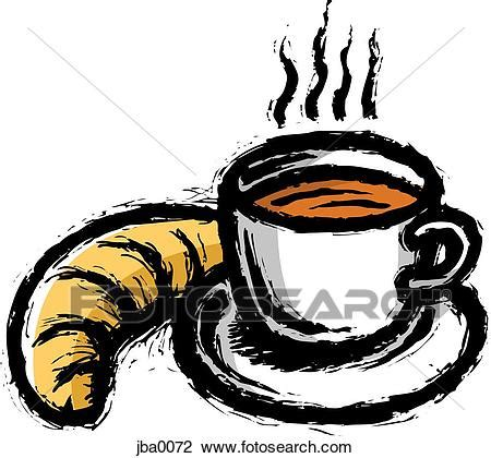Clip Art of hot drink and croissant jba0072 - Search