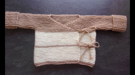 Brassiére 0/3 mois au tricot - YouTube