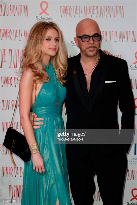 French singer Pascal Obispo and his wife model Julie