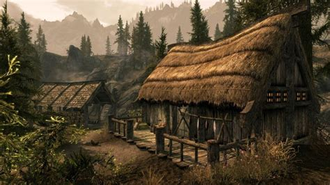Medieval, Medieval, Huts, Mountains, Path, Artwork, Trees