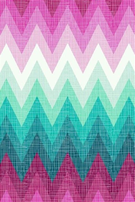 PINK mint and white ombre chevron phone wallpaper