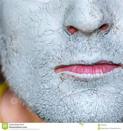 Mask Of Blue Clay On Men Face Stock Photo - Image: 56560257