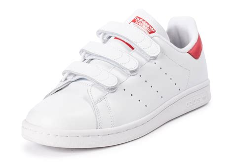 adidas Stan Smith CF Velcro blanc rouge - Chaussures Homme