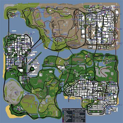 Grand Theft Auto: San Andreas Item/Weapon Location Map Map