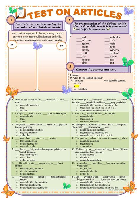 Test on articles: Definite and Indefinite (editable and
