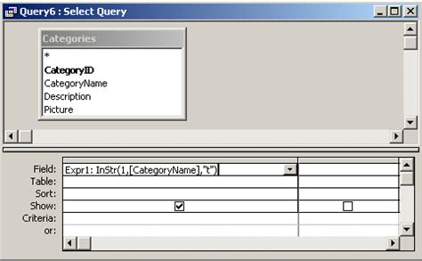MS Access: InStr Function