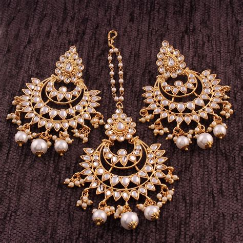 I Jewels Gold Plated Kundan & Pearl Earring Set with Maang