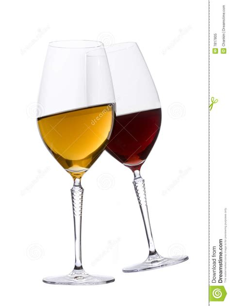 Glasses Of Red And White Wine Stock Image - Image of