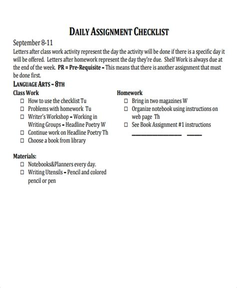 8+ Assignment Checklist Templates - Free Samples, Examples