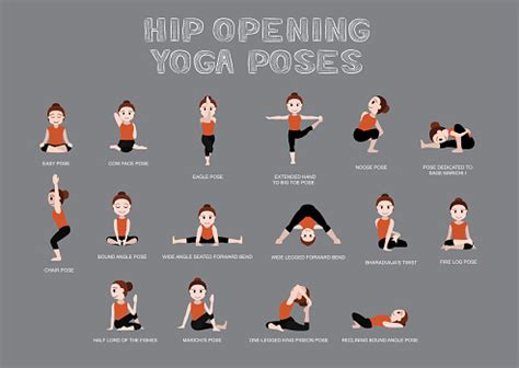 Hip Opening Yoga Poses Vector Illustration Stock